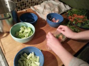 wrapping salad rolls